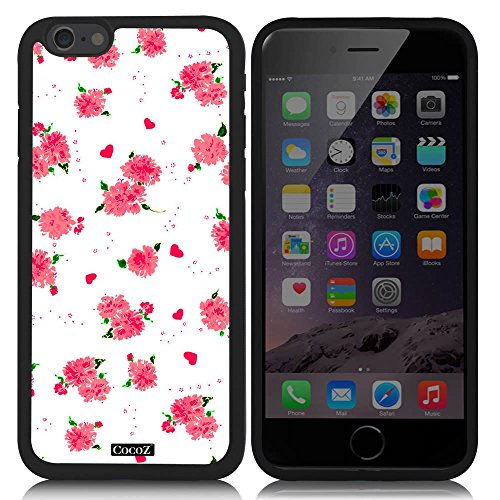 CocoZ? New Apple iPhone 6 s 4.7-inch Case Beautiful flower pattern TPU Material Case (Black TPU & Beautiful flower - Ban Razor The