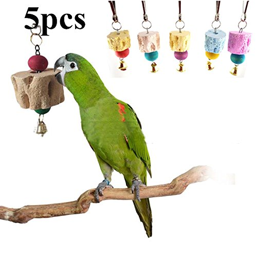 5pcs Small Teeth Grinding Chew Toy, Parrot Chewing Toy Grinding Molar Stones Cage Toys for Small Animals Mouse Rabbit Color Random