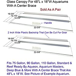 "Blue Spotted Glass Canopy for Aquariums with and Without Center Braces, 10 Gallon to 200 Gallon Aquariums (Tank with Center Brace, 48"" L x 18"" W)"