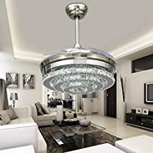Lighting Groups Invisible Ceiling Fans 3 Circles Crystal Ceiling Fan Lamp-42 inch Transparent Retractable Blades Remote Control Fans Chandelier with LED Three Color Lights -for Indoor Rooms (Silver)