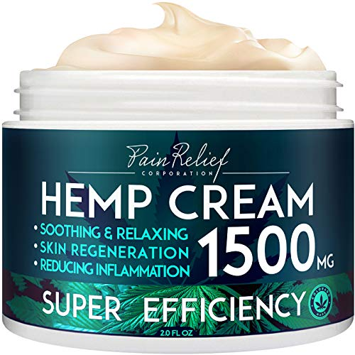 Hemp Pain Relief Cream (1500 Mg) - Natural Hemp Extract Cream for Arthritis, Back Pain & Muscle Pain Relief - Efficient Inflammation Cream & Carpal Tunnel Relief - Made in USA - Good for Skin Health. (Best Massage Oil For Back Pain)