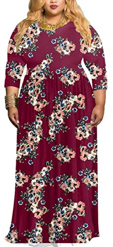 Womens 4 5 3 Sleeve Printed Size Long Party Jaycargogo Plus Floral Dress Boho fFCqfw