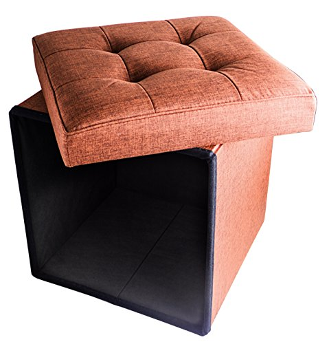 "Folding Cube Storage Ottoman with Padded Seat, 15"" x 15"" - Rust Orange"