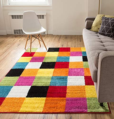 Well Woven Modern Rug Squares Multi Geometric Accent 5' x 7' Area Rug Entry Way Bright Kids Room Kitchn Bedroom Carpet Bathroom Soft Durable Area ()
