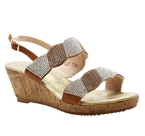 SAUTE STYLES Ladies Women Diamante Summer Strap Wedge Party Comfy Open Toe Sandals Shoes Size 3-8 Camel Tan Brown gyUh0IqM