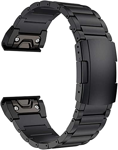 LDFAS Fenix 6X 5X Plus Band, 26mm Stainless Steel Metal Quick Release Easy Fit Watch Strap with Double Button Clasp Compatible for Garmin Fenix 6X 6X Pro 5X 5X Plus 3 3HR Smartwatch, Black