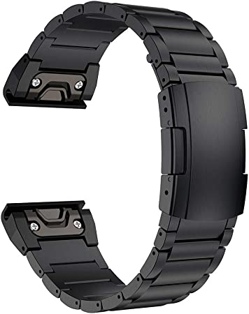 LDFAS Fenix 6 Pro 5 Plus Band, 22mm Titanium Metal Quick Release Easy Fit Watch Strap with Double Button Clasp Compatible for Garmin Fenix 5 5 Plus 6 6 Pro Forerunner 935 945 Smartwatch, Black