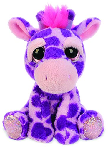 Suki Gifts Lil Peepers Fun Violet Giraffe Plush Toy with Pink Sparkle Accents, Small 11121