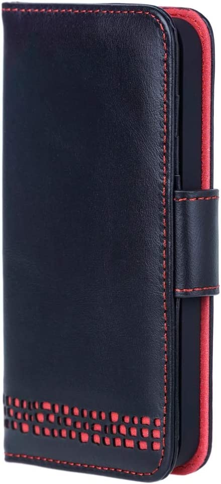 Ed Hicks iPhone SE Leather Wallet Case – Premium Real Leather – Luxury Folio Flip – Card Slots – for Right Handed Users - Vintage Black with Red Accents