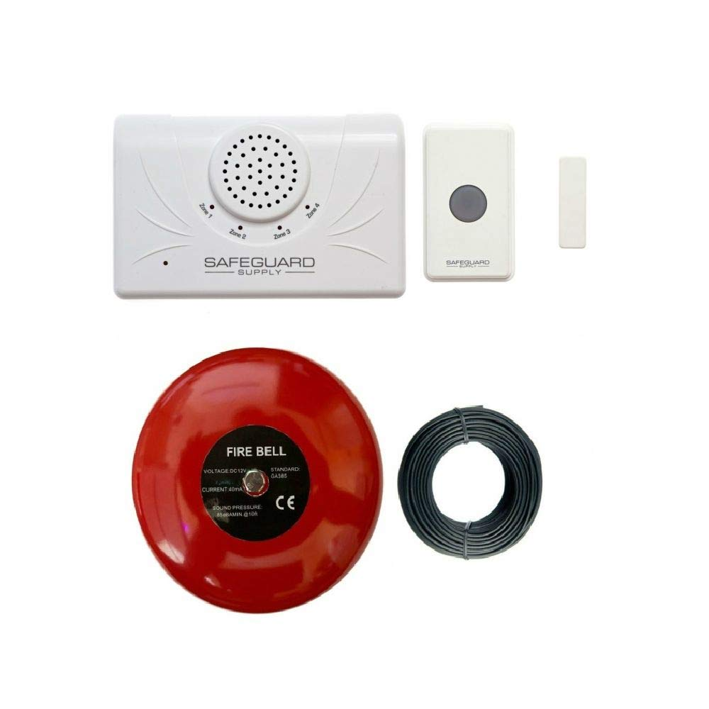 Door Alarm for Business When Entering - Safeguard Supply Commercial Series Wireless Door Chime for Business with Loud 6'' Alarm Bell Ideal for Warehouse & Business Locations Needing A Loud Doorbell