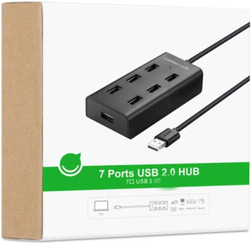 High Speed Expansion 7 Port 2.0HUB Hub Extension Cable USB Splitter Line Length 0.5 M Scratchproof Youshangshipin Hub Color : Black, Size : 1 m Black