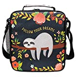 Sloth Lunch Bag Insulated Lunch Box Large Freezable Lunch Boxes Cooler Meal Prep Lunch Tote Follow Your Dreams with Shoulder Strap for Women Boys Girls