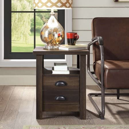 Better Homes and Gardens Granary Modern Farmhouse End Table,Aged Brown Ash, Brown