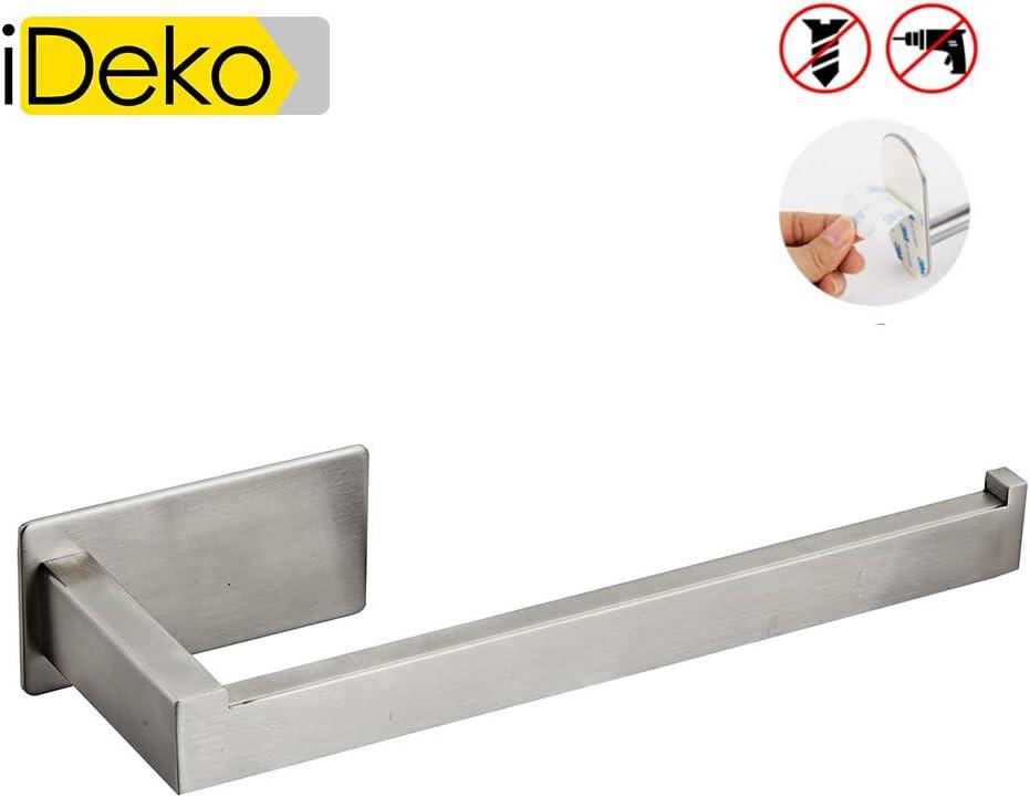 iDeko/® Porte Serviette Salle de Bain Auto-Adh/ésif Acier inoxydable Bross/é 22.5cm pour salle de bain