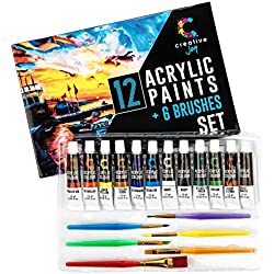 Creative Joy Acrylic Paint Set & Brushes with Rich Pigments in 12 Vivid Colors with 6 Starter Brushes is Great for Beginners and Hobby Painters from Kids Through Adults