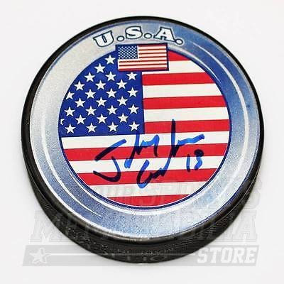 Johnny Gaudreau Calgary Flames Signed Autographed Team USA Hockey Puck Your Sports Memorabilia Store