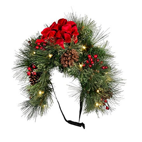 mailbox christmas decoration pre lit battery operated 24 swag garland classic style with pinecones berries and red bow