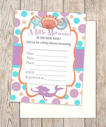 Amazon Com Mermaid Baby Shower Fill In Blank Invitations Flat