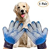 #7: Chi Chi Pet Grooming Glove - Gentle Deshedding Brush Gloves - Efficient Pet Hair Remover Mitt - Massage Tool with Enhanced Five Finger Design - Perfect for all types of Pet hair