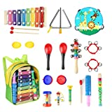 Eyssen Toddle Musical Instruments 13 Types 17 pcs Percussion Instruments Toy Toddles & Kids Ages 1-3, Musical Toys Set Boys Girls Storage Backpack (17 pcs, Set)