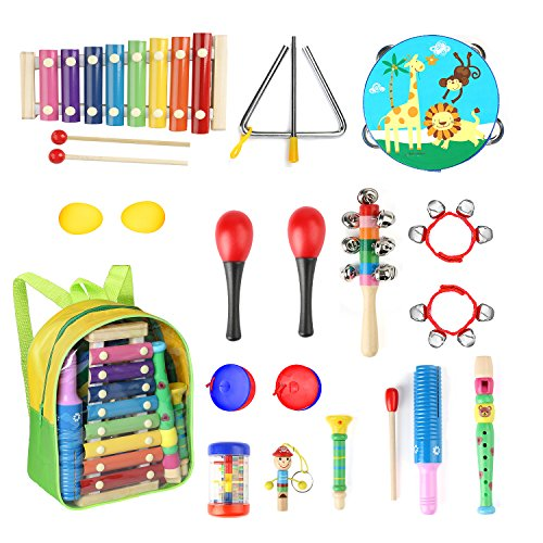 Eyssen Toddle Musical Instruments 13 Types 17 pcs Percussion Instruments Toy Toddles & Kids Ages 1-3, Musical Toys Set Boys Girls Storage Backpack (17 pcs, Set) by Eyssen
