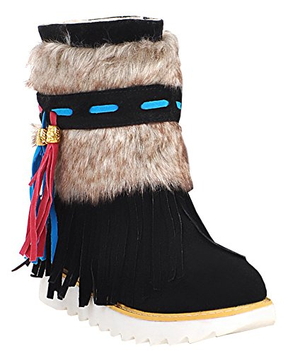 IDIFU Women's Ethnic Fringed Faux Fur Lined Flat Slip On Winter Boots Ankle High Snow Booties Black 4 B(M) US by IDIFU