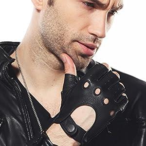 ELMA Men's Deerskin Leather Fingerless Half Finger Driving Unlined Gloves (L, Black)