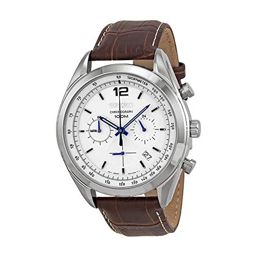 (Seiko Chronograph White Dial Stainless Steel Brown Leather Mens Watch SSB095 )