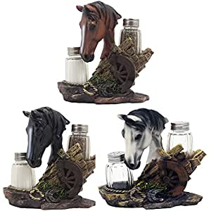 DWK Equine Spice Horse Salt & Pepper Shaker Set No. HD28246, Assrt. Colors Set of 3 Gift Bundle