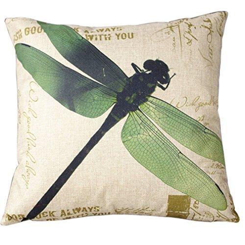 BPFY 4 Pack Home Decor Cotton Linen Sofa Animals Throw Pillow Case Cushion Cover 18 x 18 Inch (Elephant,Panda,Deer,Dragonfly) by BPFY (Image #3)