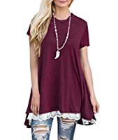 Newbely Women's Short & Long Sleeve A-line Flowy Tunic Tops (US 4-22)