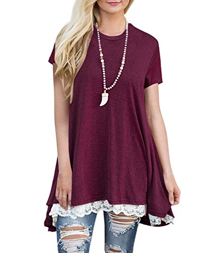 BELAMOR Womens Short & Long Sleeve A-line Flowy Tunic Tops (US 4-22)