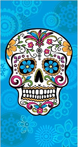 The Best Fashion House Toalla de playa diseño calavera mexicana 100% algodon (3 colores y 2 tamaños) (Celeste, 145 x 180 cm): Amazon.es: Hogar