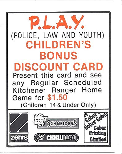 1986 87 Police 28 Hockey Sga P L A Y Discount Card Kitchener
