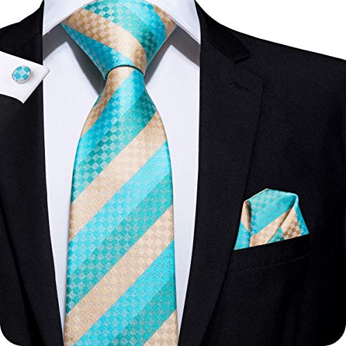 Beige Stripes Tie Handkerchief Necktie with Cufflinks and Pocket Square Tie Set ()
