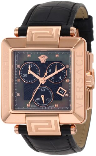 Versace Women's 88C80SD008 S009 Reve Carrè Chronograph Rose-Gold Plated Mother-Of-Pearl Diamond Watch