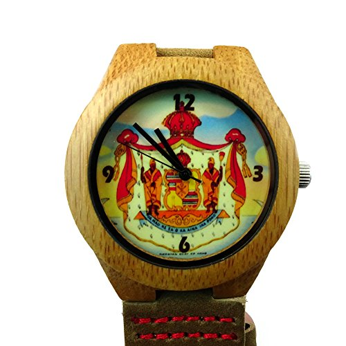 Price comparison product image Handmade Kahala Wooden Watch Made With Natural Bamboo Wood with Hawaiian Coat Of Arm Seal Artwork - HGW-211