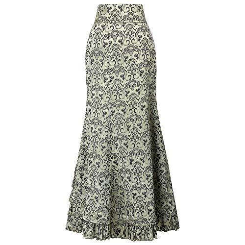 TIFENNY Women's Skirt Punk Style Retro Mermaid Skirt Vintage Long Dresses Bodycon Ruffle Fishtail Skirt Green