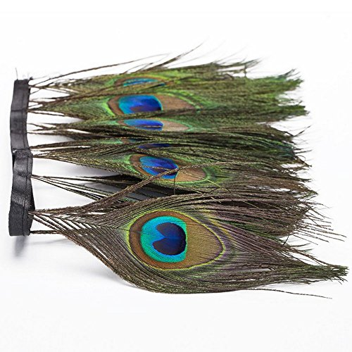 Peacock Costume Feathers (Peacock feather,feather, Hgshow Trims Fringe With Satin Ribbon Sewing Crafts Costumes Decoration of 1 yards)