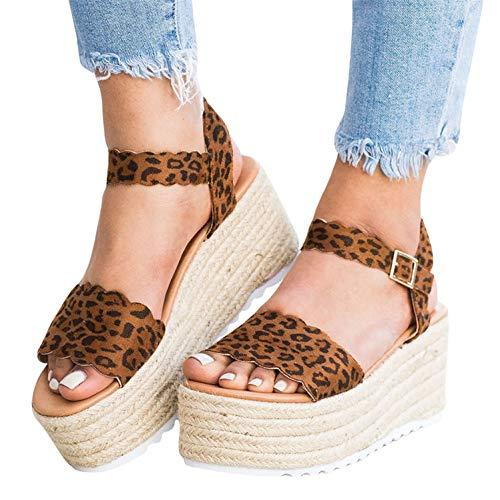 (Syktkmx Womens Wedge Sandals Platform Summer High Heeled Ankle Strap Espadrilles)