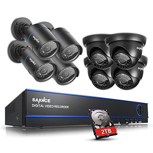 SANNCE 16-Channel 1080N DVR HomeGuard DIY CCTV Kit w/ 2TB HDD + 8 720P...
