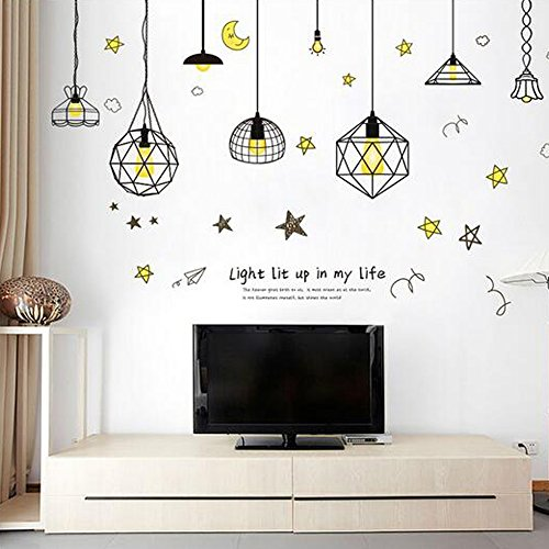 Flowers Butterfly Wall Stickers Cartoon Animals Height Measurement Wall Decals Home Decor Art Mural Boys Girls Kids Bedroom Kitchen Decoration Posters (Chandelier Stars Light Lamp)