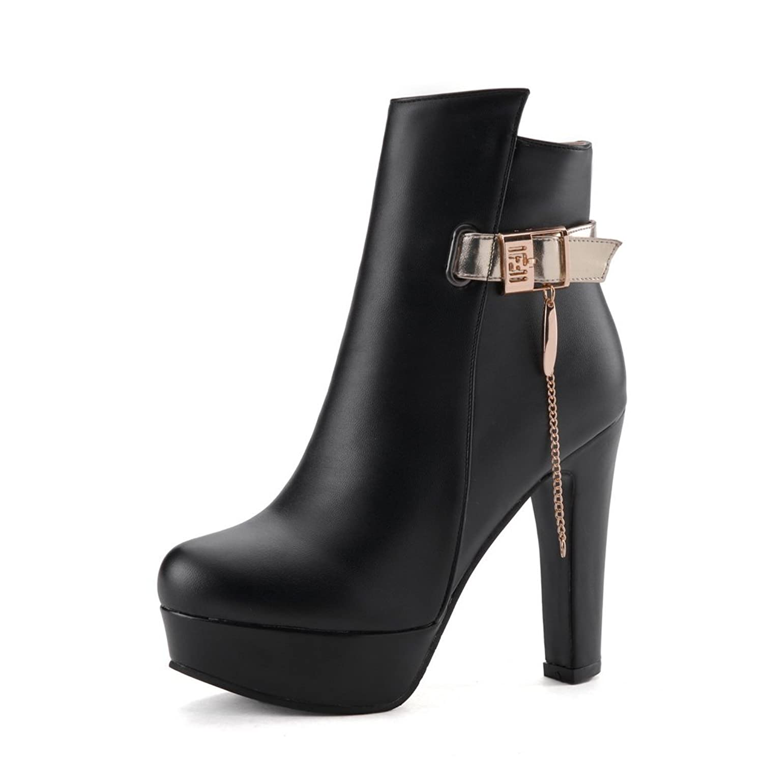 1TO9 Womens Metal Chain Buckle Platform Tuxedo Shoes Imitated Leather Boots