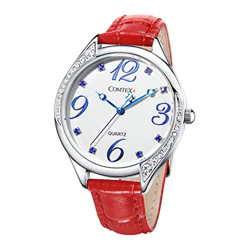 Crystal Red Strap Watch (COMTEX Watches for Women Red Leather Strap with Crystal Large Number Dial Ladies Wristwatches)