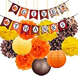 Thanksgiving Decorations Kit-Happy Thanksgiving Banner with Tissue Flowers Pom Poms Paper Lanterns Yellow Orange Pumpkin Brown Fall Ornament for Autumn Decorations Fall Party Decorations