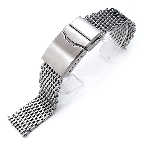 """18mm Ploprof 316 SS Wire """"SHARK"""" Mesh Milanese Watch Band, Chamfer Clasp, Brushed, AB"""