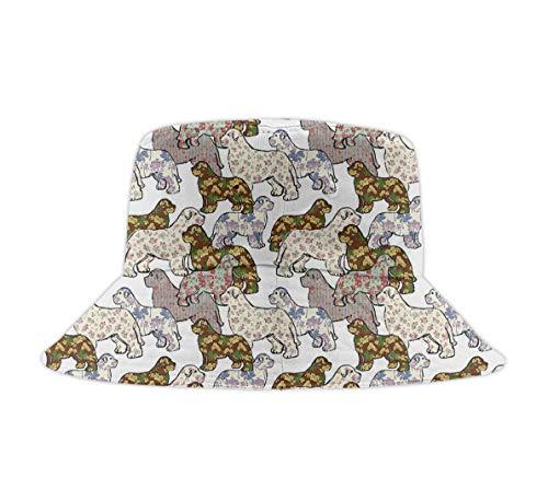 Washed Cotton Denim Bucket Hat Dogs Patterns Floral Newfoundland Dog