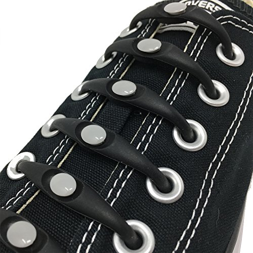 Fotenk No-Tie Elastic Shoelaces for Kids and Adults - Black & Gray