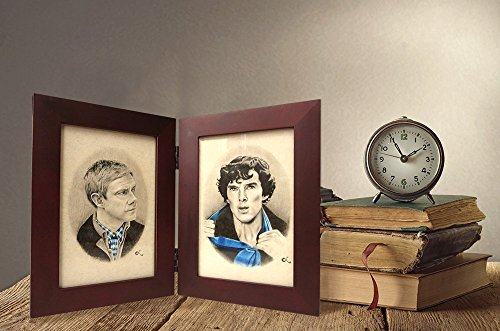 (Sherlock and Watson Hinged Book Frame Portraits | Benedict Cumberbatch | Martin Freeman)