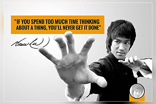 """""""If you spend too much time""""…Bruce Lee Motivational Quote Poster Print 12 x 18 inch (Rolled)"""